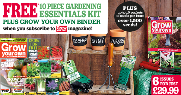 Free* 10 Piece Gardening Essentials Kit plus Grow Your Own Binder                   | *when you subscribe to Grow Your own magazine | worth £30 | 6 Issues for just £29.99* | Plus up to 10 packets of free seeds per issue